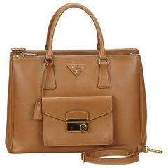 Prada Brown Leather Front Pocket Double Zip Handbag