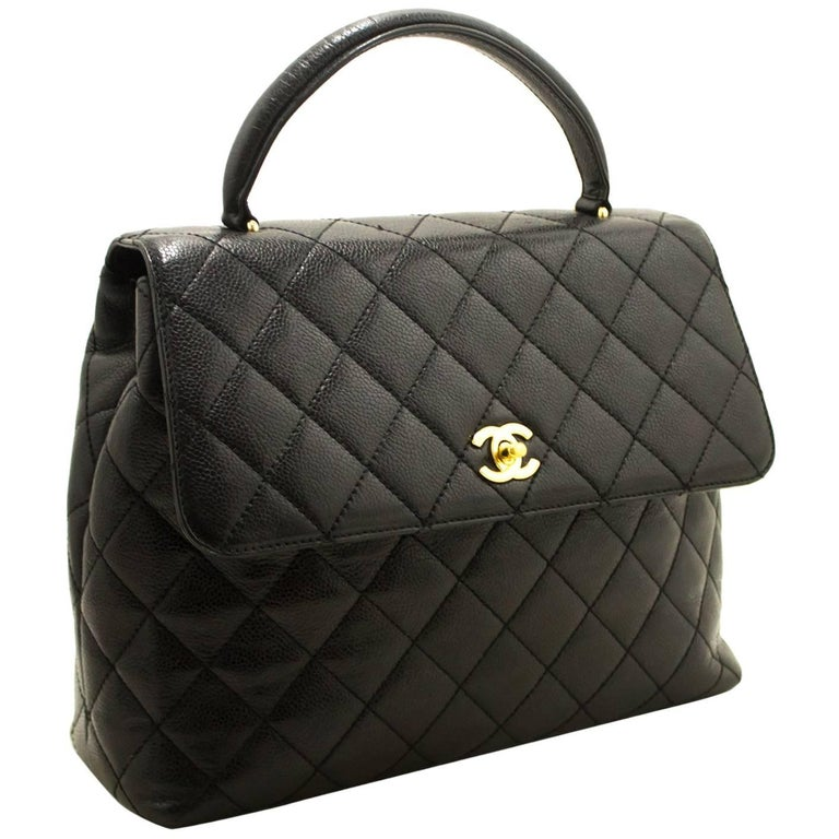 CHANEL Caviar Kelly Bag Handbag Black Quilted Flap Leather Gold