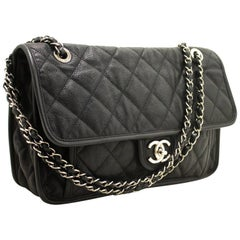 """CHANEL 11"""" Caviar Chain Shoulder Bag Black Quilted Flap Leather SV"""