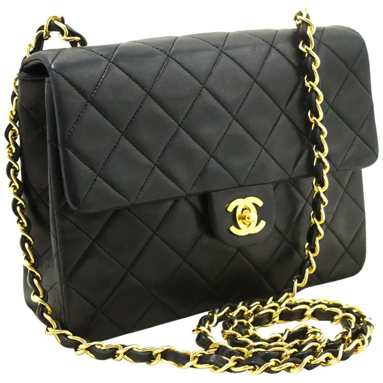 ca1249b70d37 CHANEL Mini Small Chain Shoulder Bag Crossbody Black Quilted Flap For Sale