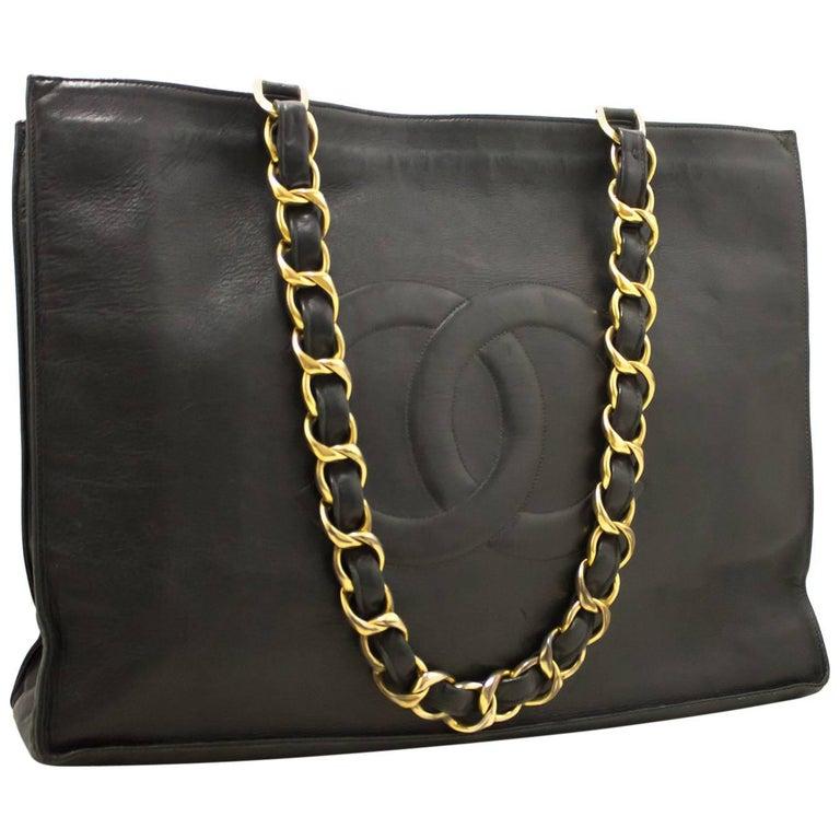 e616f9ef6b4b51 CHANEL Jumbo Large Big Chain Shoulder Bag Black Lambskin Leather For Sale  at 1stdibs