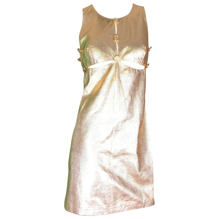 Gianni Versace Medusa Metallic Golden Leather Dress Museum Piece 1994
