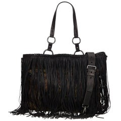 Prada Multi Fringed Camo Nylon Tote Bag