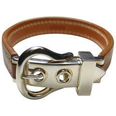Circa's 2005 Hermès Bracelet Boucle Sellier Silver 925 &Barenia Leather / L Size