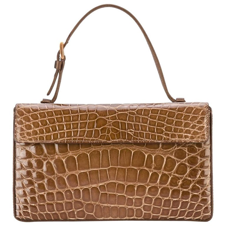 11a879f2dc26 Prada Brown Crocodile Leather Vintage Bag, 2000s For Sale at 1stdibs