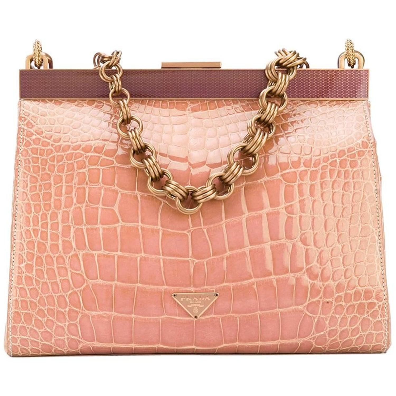 3ab7652e6379f2 Prada Pink Crocodile Leather Vintage Bag, 2000s at 1stdibs