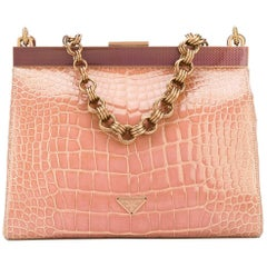 Prada Pink Crocodile Leather Vintage Bag, 2000s