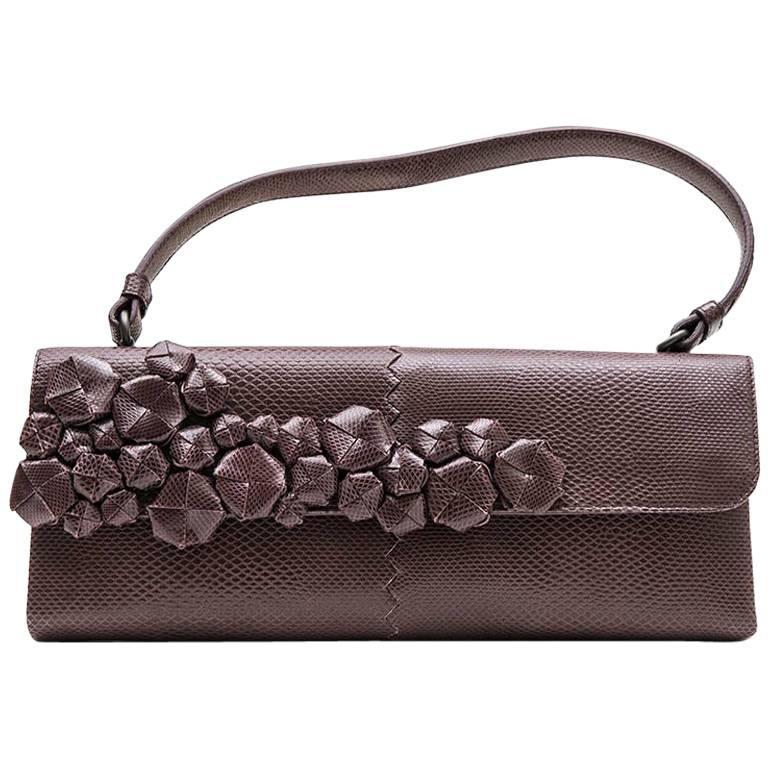 265e90bc54 BOTTEGA VENETA Bag in Dark Purple Python effect Leather For Sale at ...