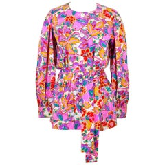 Yves Saint Laurent Colorful Floral Print Cotton Tunic Blouse With Belt, 1980s