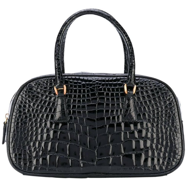 Prada Black Crocodile Leather Vintage Bag, 2000s
