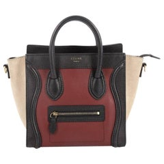 Celine Tricolor Luggage Handbag Leather Nano