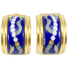 1990's Hermes Oriental Motif Gold-Plated Enamelled Earrings
