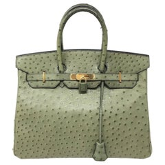 Hermes Birkin 35 Ostrich Green Leather Bag, 2000