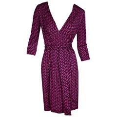 Pink Diane von Furstenberg Printed Silk Wrap Dress