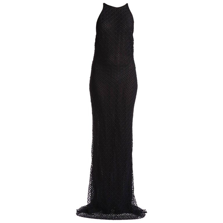 3cef035c97a Gianni Versace Couture Vintage Black Lace Gown with Crystals For Sale