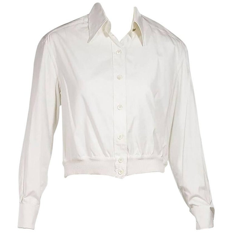 White Vintage Chanel Button-Front Blouse