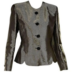Metallic Gold & Black Giorgio Armani Twill Blazer