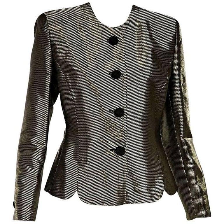 Metallic Gold & Black Giorgio Armani Twill Blazer