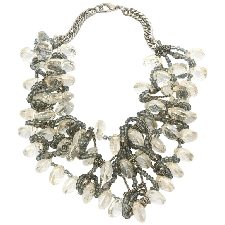 Stunning Faceted Lucite, Chain, Beads And Silver Bib Multi Strand Necklace For Sale