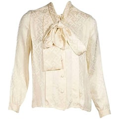 Cream Vintage Chanel Pussy Bow Blouse