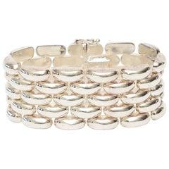 Hallmarked Sterling Silver Cuff Link Bracelet