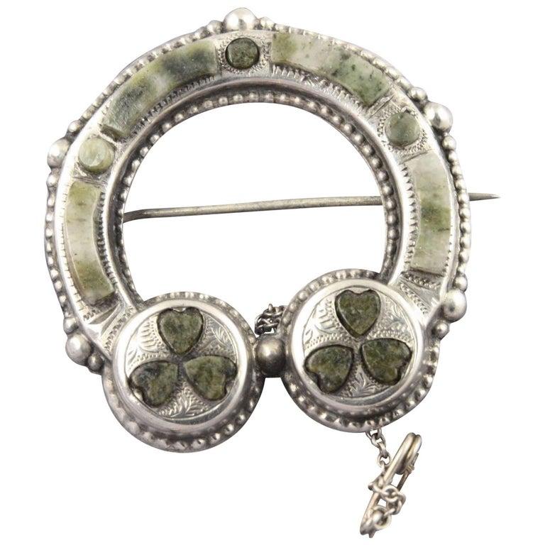 Edwardian Antique Irish Clover Connemara Marble Sterling