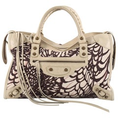 Balenciaga City Classic Studs Handbag Printed Nylon and Leather Medium