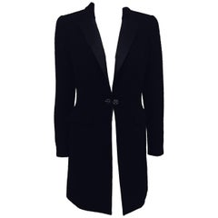 Classic Chanel Black Wool Blend Tuxedo Style Long Jacket w/ Pewter Metal Buttons