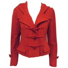 Cupid's Chanel Red Hooded Wool Jacket with Pleats Front, Back & Sleeves