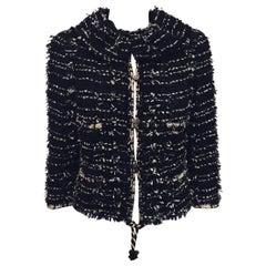 Chanel Black & White Metallic Tweed Jacket with Round Frayed Collar