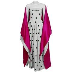 2000 Oscar de la Renta White Black Polka-Dot Print Silk Strapless Gown & Shawl