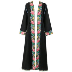 Vintage SUBHANA 'THE BEST' SRINAGAR Wool Floral Kashmiri Embroidered Robe / Coat