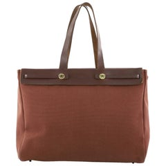 Hermes Herbag Cabas Toile and Leather MM
