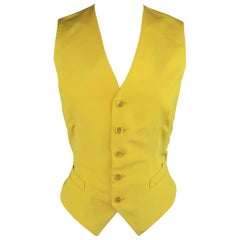 RALPH LAUREN Size 8 Yellow Twill Silk V Neck Dress Vest