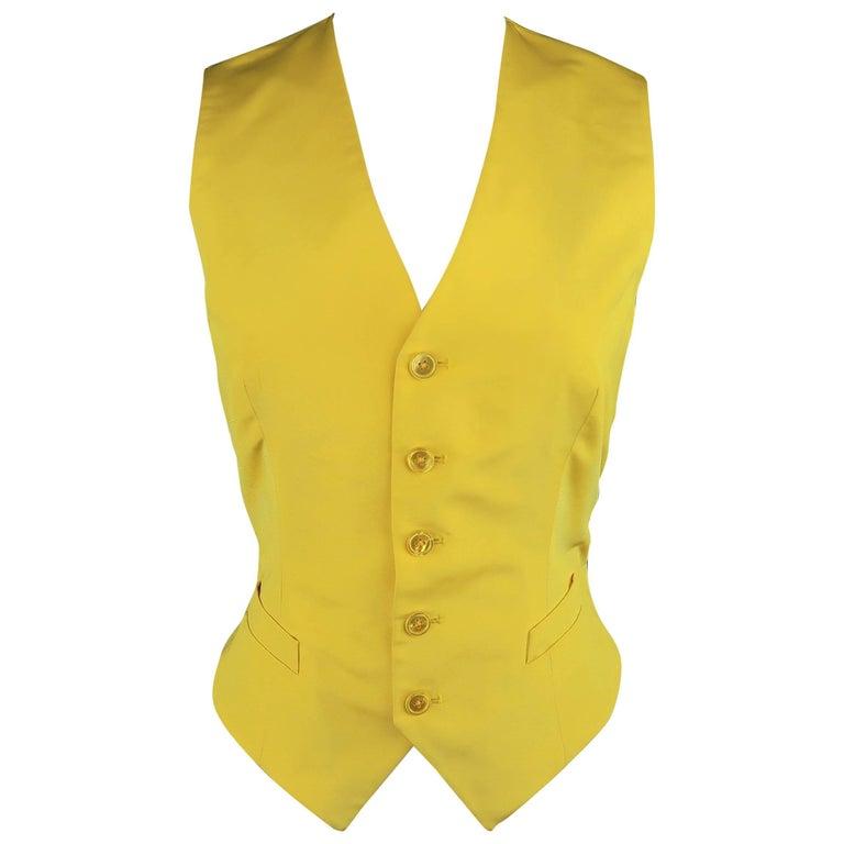 RALPH LAUREN Size 8 Yellow Twill Silk V Neck Dress Vest