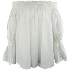 ALEXANDER MCQUEEN Size 4 White Cotton Off The Shoulder A Line Peasant Blouse