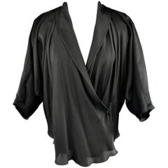 LANVIN Size 4 Black Silk / Cotton Draped Asymmetrical Wrap Blouse