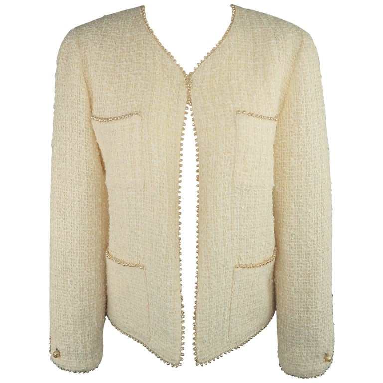 Chanel Cream Cotton Blend Tweed Pearl Piping V Neck Jacket, 1999