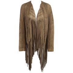 RALPH LAUREN COLLECTION Size 6 Olive Taupe Woven Fringe Jacket - Retail $4500