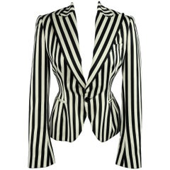 RALPH LAUREN Size 8 Cream & Black Striped Cotton Peak Lapel Jacket
