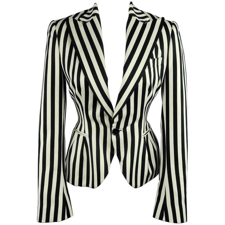 Ralph Lauren Cream and Black Striped Cotton Peak Lapel Jacket