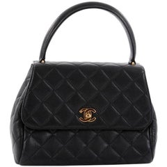 Chanel Vintage Classic Top Handle Flap Bag Quilted Caviar Medium