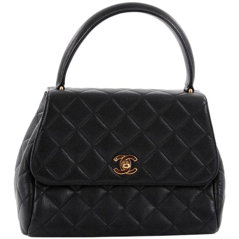 c1d8a8e78945 Chanel Vintage Classic Top Handle Flap Bag Quilted Caviar Medium For Sale