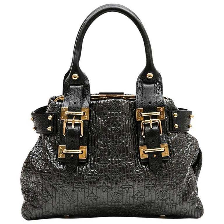 LOUIS VUITTON Bag in Black Leather and Brown Patent Leather Embroidered