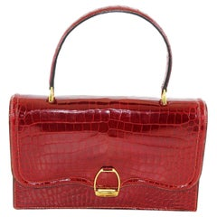 Hermes red croco bag Etrier Model, 1960s