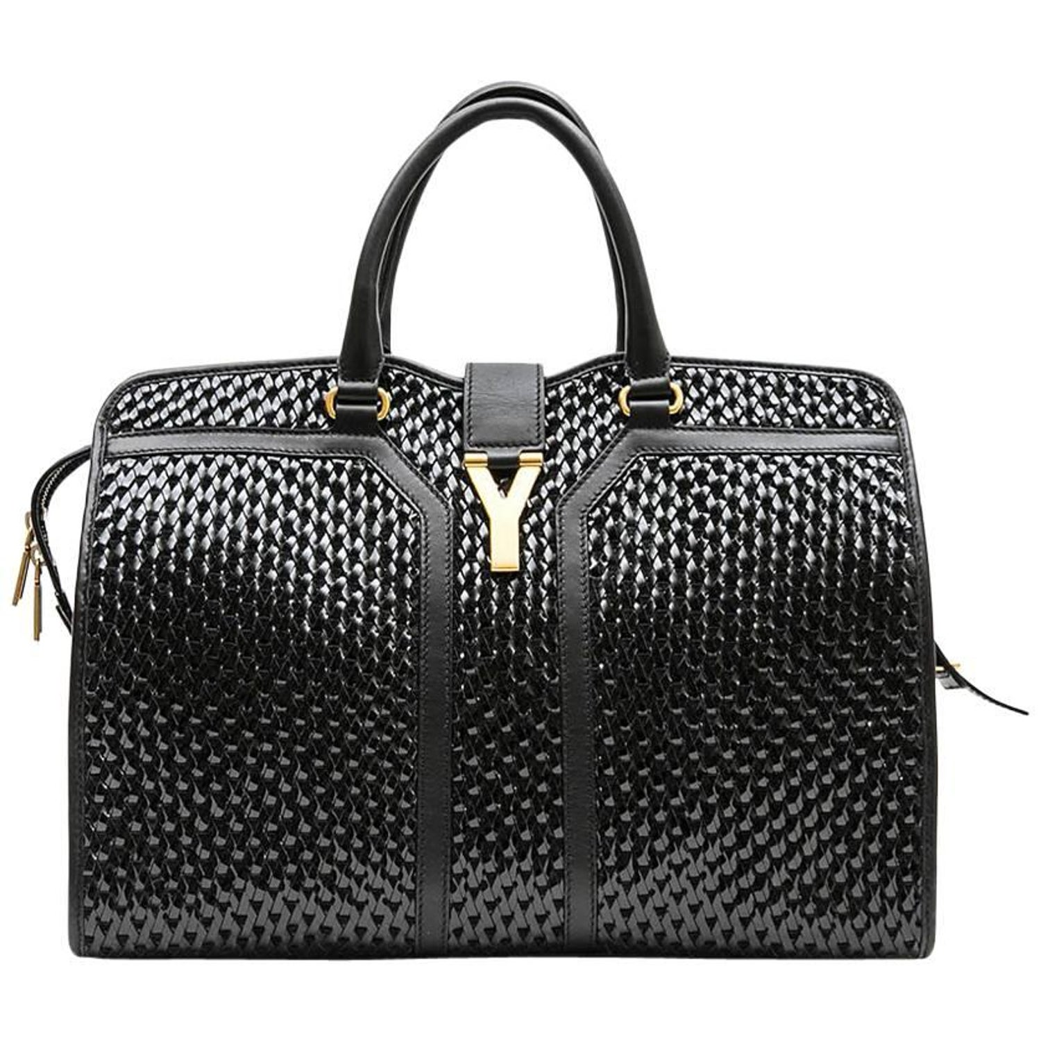 aaafc4eb4d YVES SAINT LAURENT  Chyc  Bag in Black Leather and Breaded Vinyl at 1stdibs