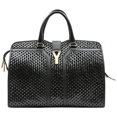 YVES SAINT LAURENT 'Chyc' Bag in Black Leather and Breaded Vinyl