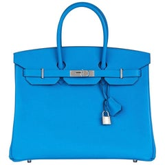 Hermes Blue Zanzibar Epsom Leather Birkin 35cm