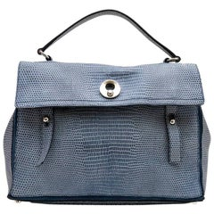 YVES SAINT LAURENT 'Muse II' Bag in Blue Python Effect Leather