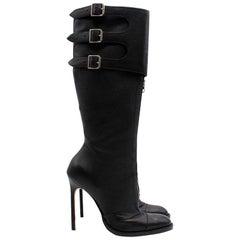 Manolo Blahnik Black Leather Long Boots (US 8.5)
